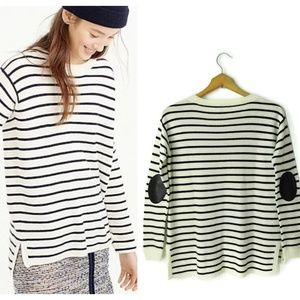 J Crew Striped Leather elbow patches swing sweater